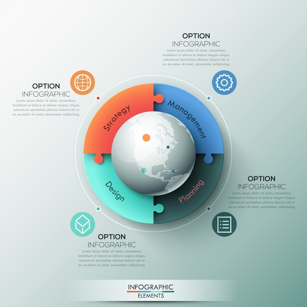 ERP vs CRM | Infographic template, 4 connected jigsaw puzzle pieces and globe in center Premium Vector
