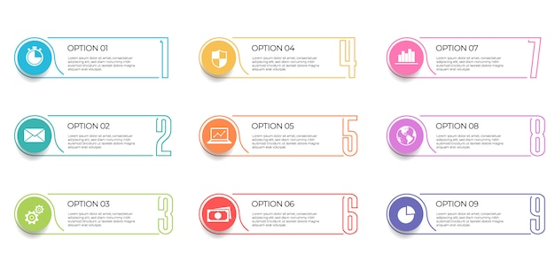 Infographic template 9 options. Premium Vector