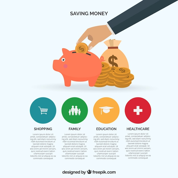 Infographic template about saving money Free Vector