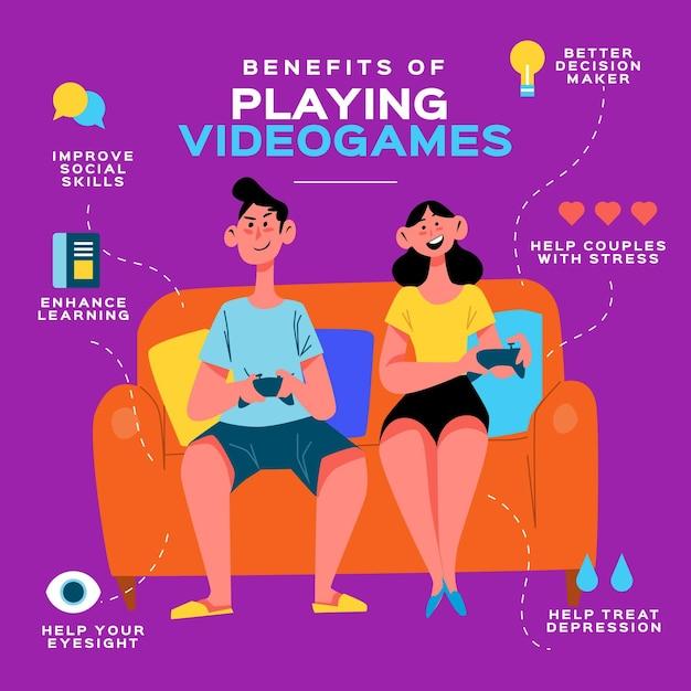 ビデオゲームをプレイするインフォグラフィックテンプレートの利点 無料ベクター