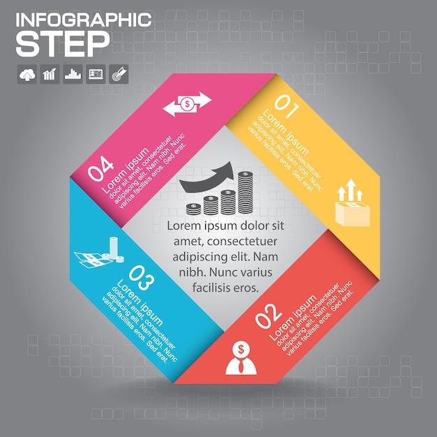 Инфографики шаблон. бизнес-концепция с 4 вариантами, частями, шагами или процессами. Premium векторы