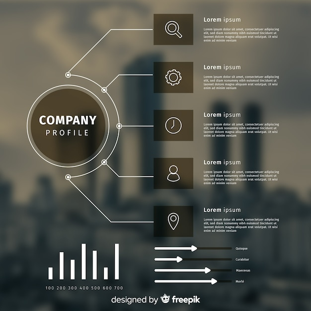 Infographic template for business with photo Free Vector