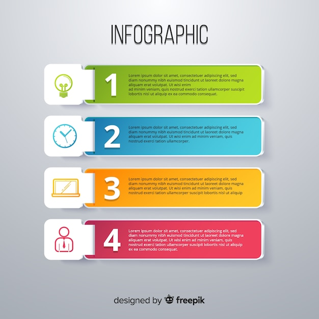 Infographic template in colorful gradient style Free Vector