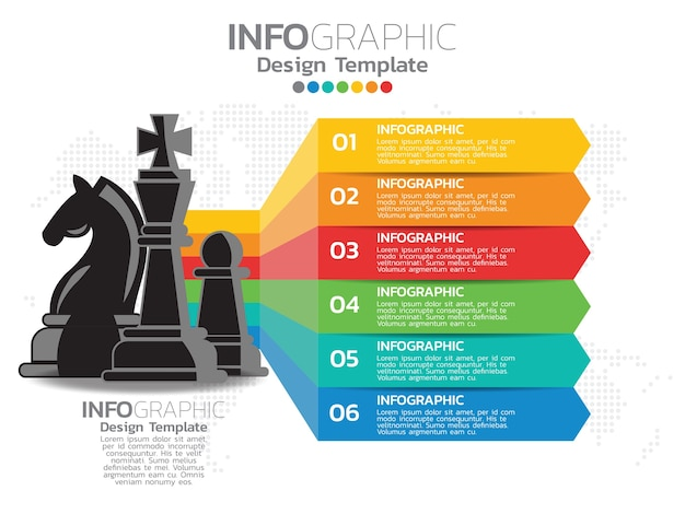 Infographic template design with 6 color options. Premium Vector