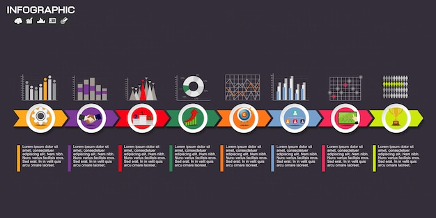 Infographic template design with icons and options. Premium Vector