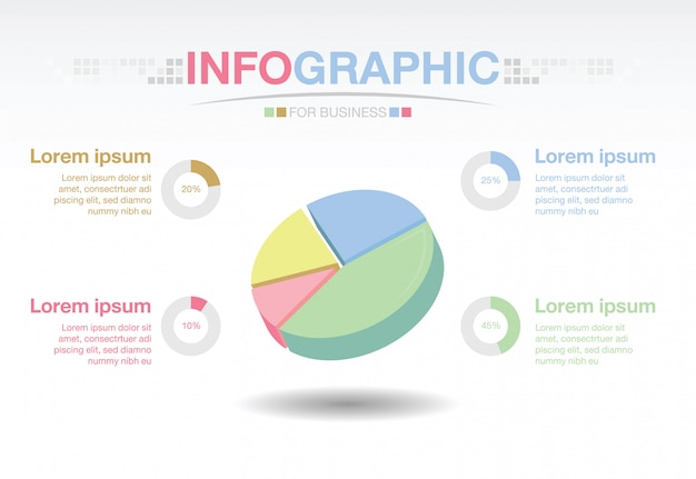 Infographic Template For Business Pie Chart Diagram With 4 Options