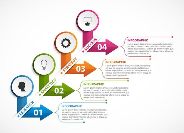 ビジネスプレゼンテーションのインフォグラフィックテンプレート Premiumベクター