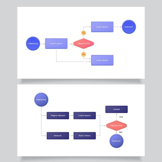 흐름도를위한 infographic 템플릿 무료 벡터