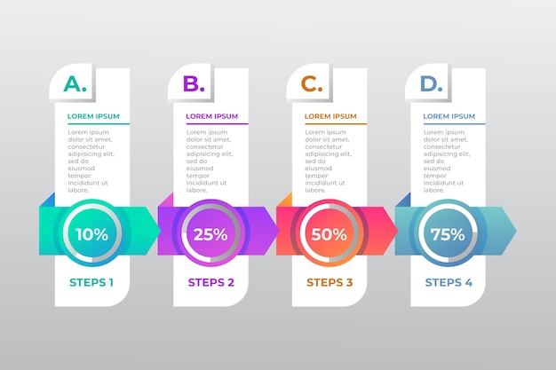 Infographic template in four steps and text boxes Free Vector