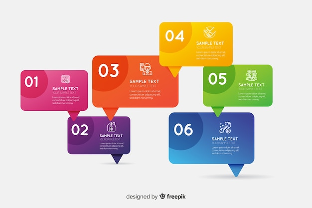 Infographic template in gradient style Free Vector
