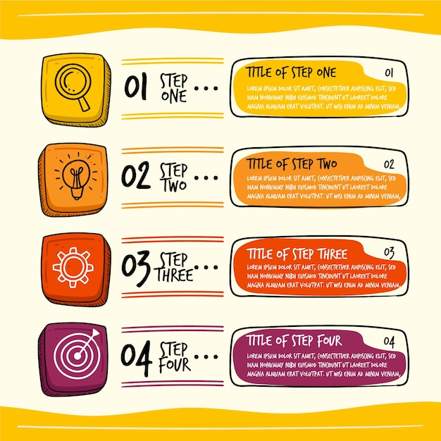 Infographic template in hand drawn Free Vector