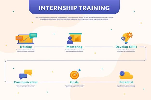 Infographic template internship training Premium Vector