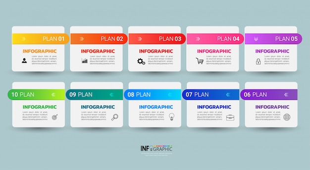 Infographic template ten steps. Premium Vector