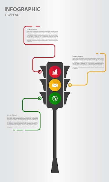Infographic Template Traffic Lights Styles Vector Premium Download