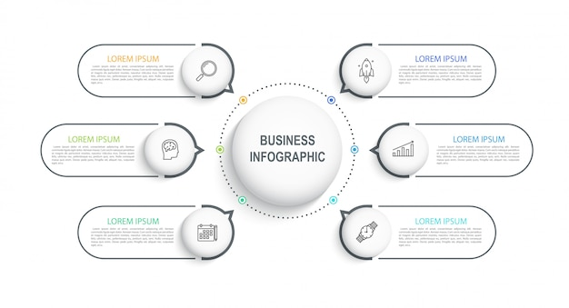 Premium Vector Infographic Template Visualization Of Business Data On A Timeline With 6 Steps Workflow Diagram Or Banner For Web Design