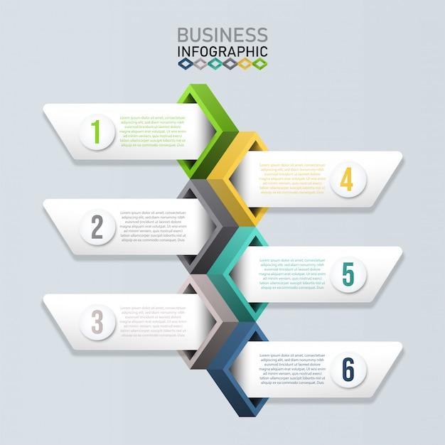 Инфографики шаблон с 3d бумаги. бизнес-концепция для презентации. Premium векторы