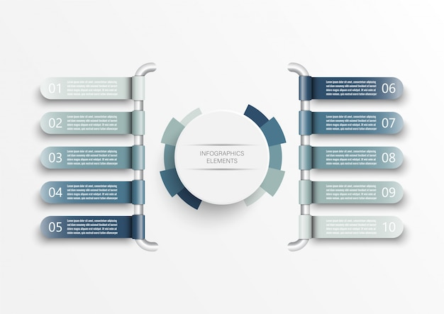 Infographic template with 3d paper label, integrated circles. business concept with 10 options. Premium Vector