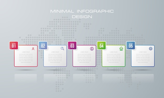 Infographic template with 5 options Premium Vector