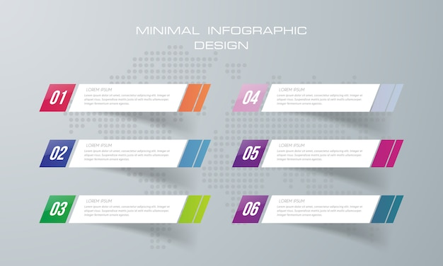 Infographic template with 6  options,  infographics design vector can be used for workflow layout,  - vector Premium Vector
