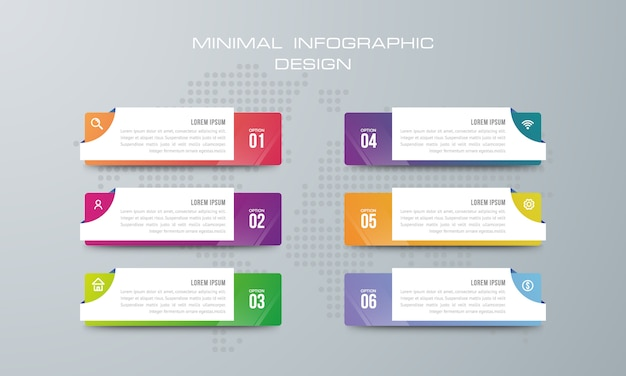 Infographic template with 6 options, workflow, process chart,timeline infographics design vector Premium Vector