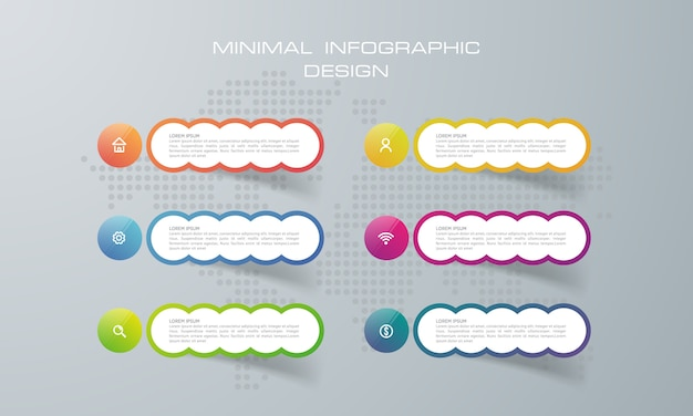 Infographic template with 6  options Premium Vector