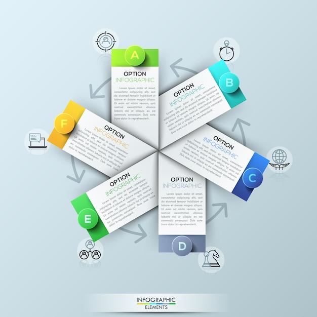Infographic template with 6 rectangular elements Premium Vector