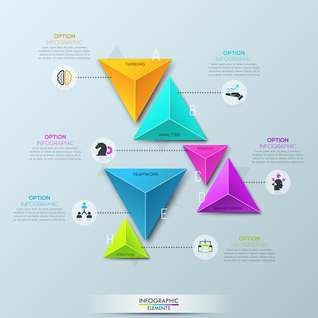 ペアに分割された6つの個別の色とりどりのピラミッド型要素を持つインフォグラフィックテンプレート Premiumベクター