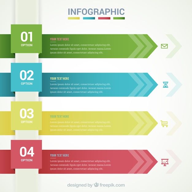 infographic template with arrow banners free vector - Free Templates