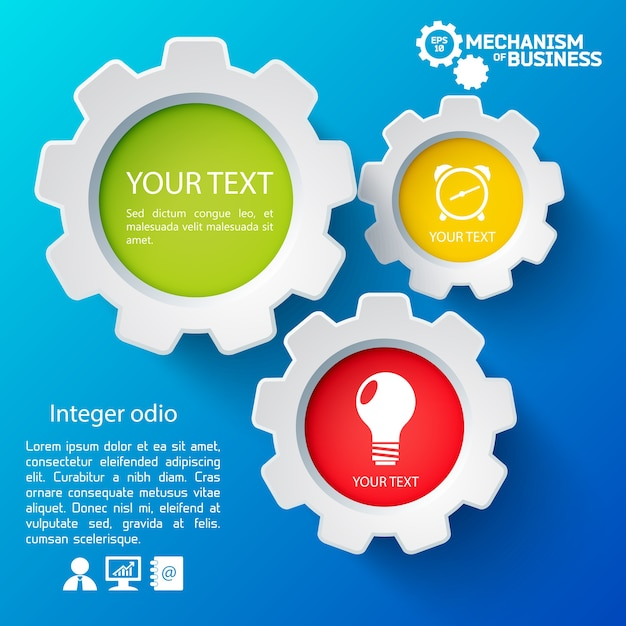 Infographic template with business icons Free Vector