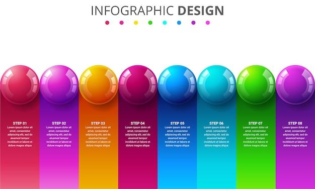 Инфографический шаблон с цветными шарами Premium векторы