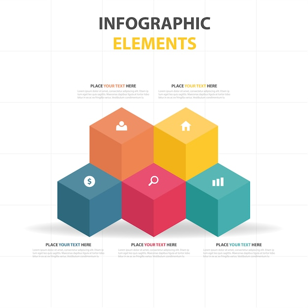 Infographic template with colorful cubes Free Vector