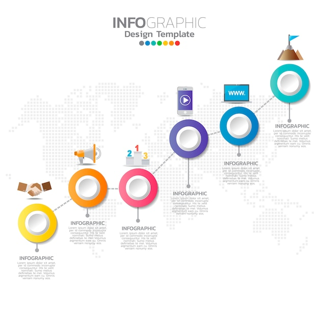 Infographic template with digital marketing icons. Vector ...