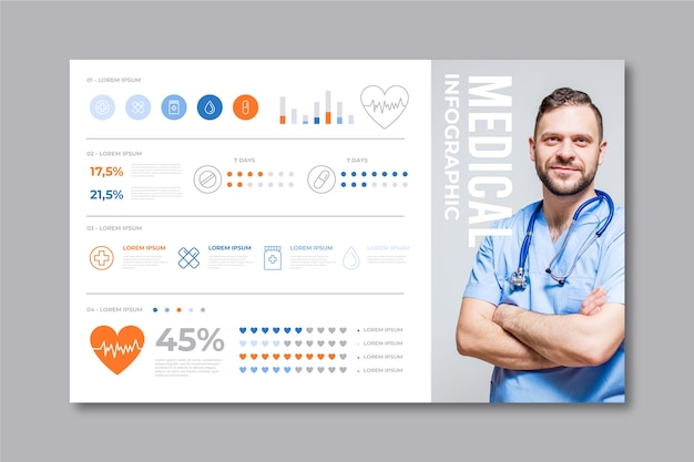 Infographic template with doctor Free Vector