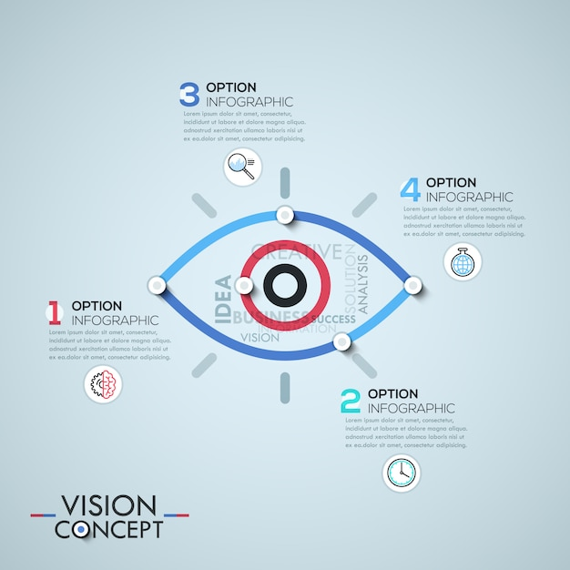 Infographic template with elements connected by lines in shape of eye Premium Vector