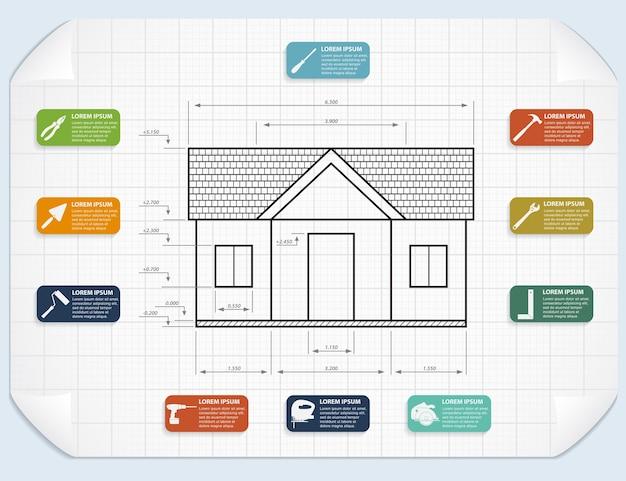 家プロジェクトとツールアイコンのインフォグラフィックテンプレート Premiumベクター