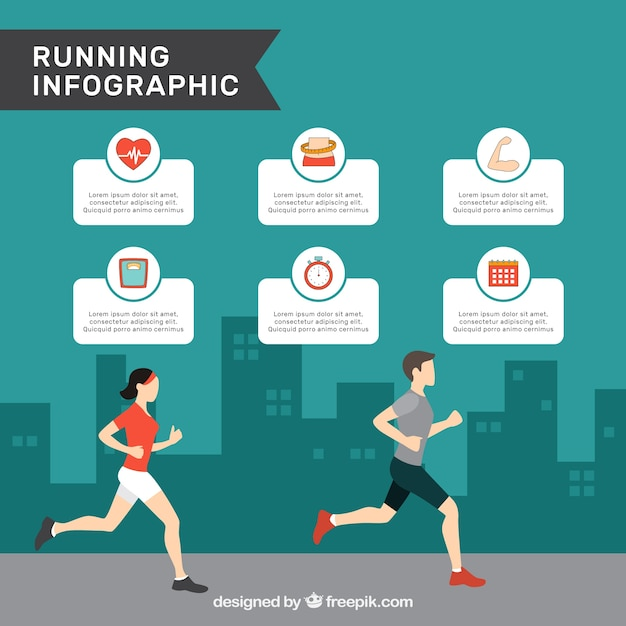 Infographic template with man and woman running\ in flat design