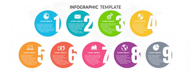 Infographic template with numbers with options. Premium Vector