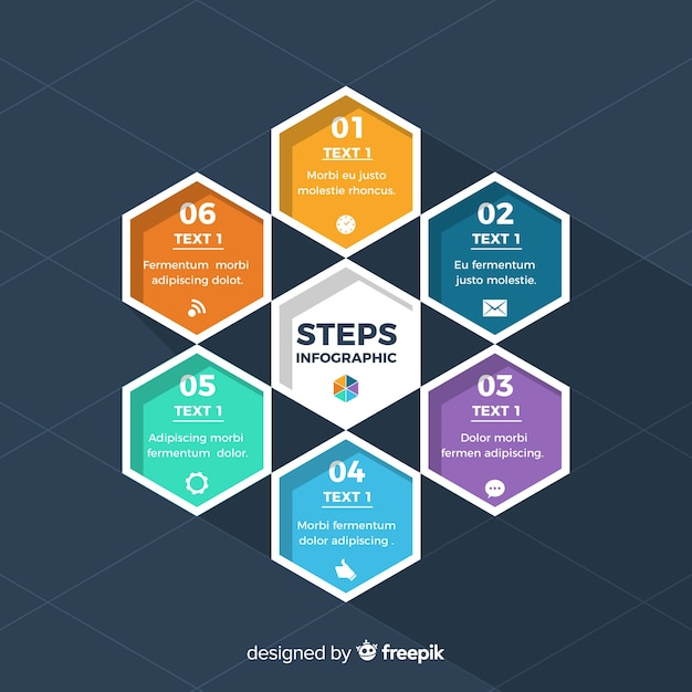 Infographic template with steps concept Free Vector