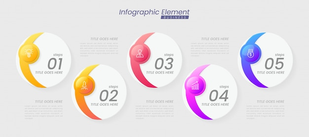 Infographic template with steps for success. presentation with line icons, organization element chart process template with editable text. options for brochure, diagram, workflow, timeline, web design Premium Vector