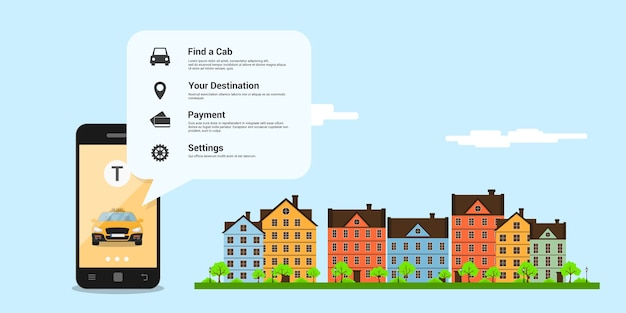 Infographic template with taxi car on mobile phone screen, icons and town street on background, taxi service concept,  style illustration Premium Vector