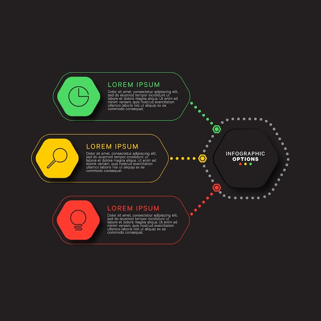 Infographic template with three hexagonal elements on black Premium Vector