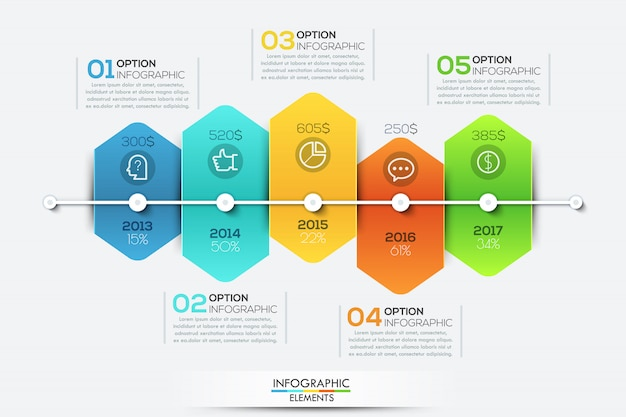 Infographic template with timeline and 5 connected hexagonal elements Premium Vector