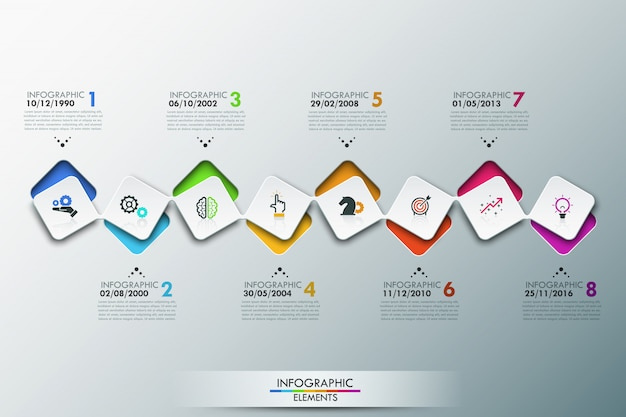 Infographic template with timeline and 8 connected square elements Premium Vector