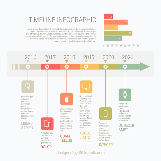 Infographic Template With Timeline And Chart Vector Free Download - Timeline graphic template