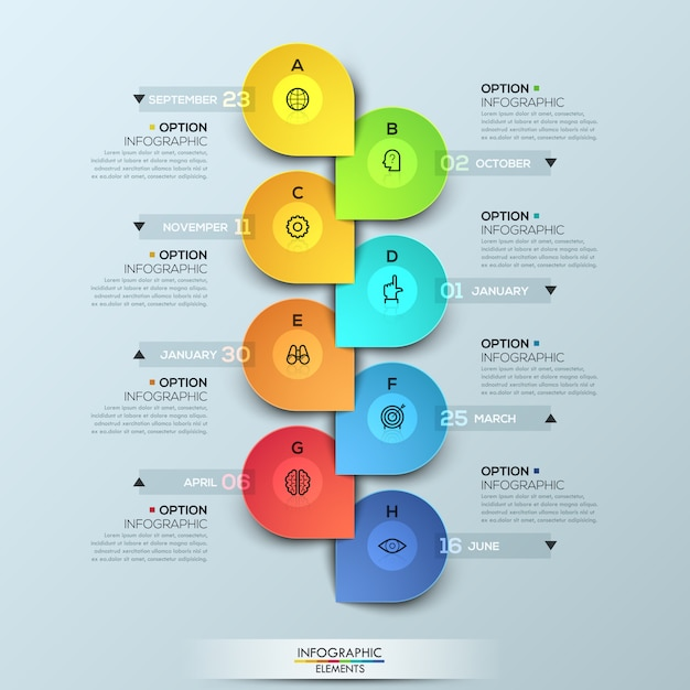 Infographic template with vertical timeline and 8 connected elements Premium Vector