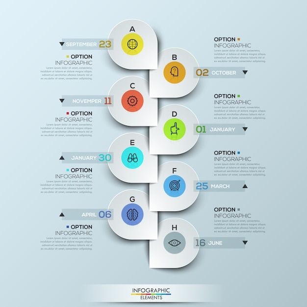 Infographic template with vertical timeline and 8 connected icon badges Premium Vector