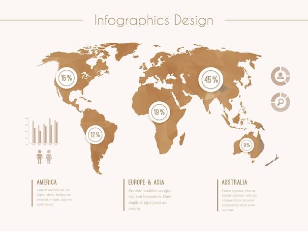 Modello di infografica con mappa del mondo in stile retrò Vettore gratuito