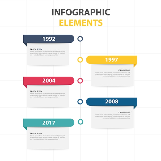 infographic template with yearly info free vector - Template
