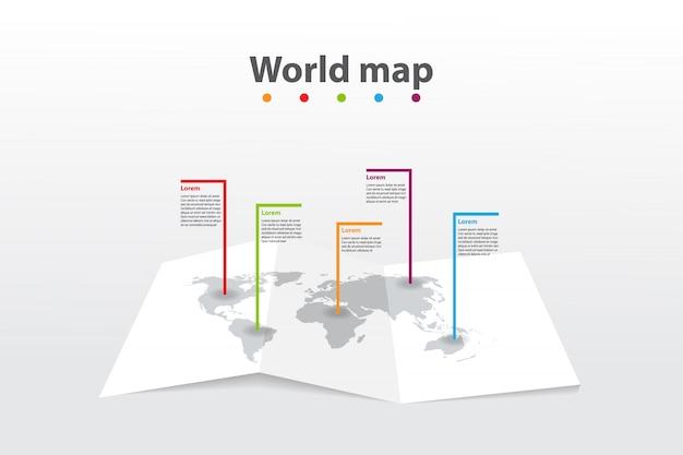 Infographic template world map, transport communication information plan position Premium Vector