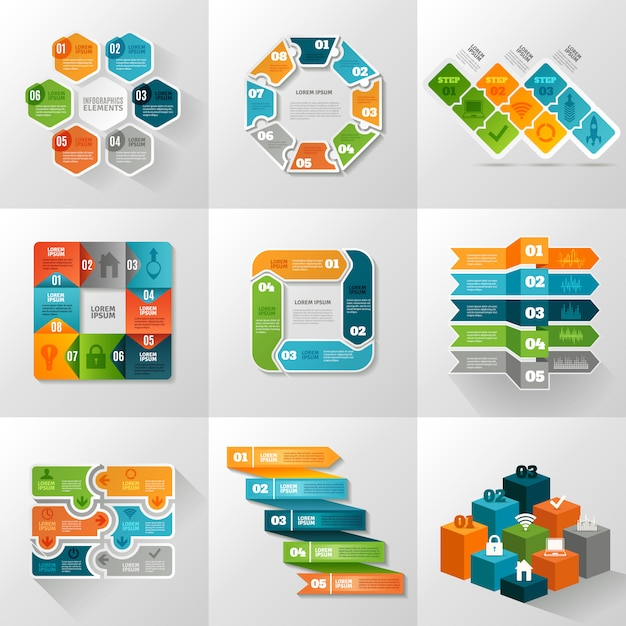 Infographic templates icons set Free Vector